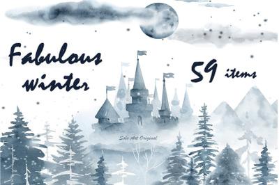 Winter Forest Landscape Watercolor Clip Art set