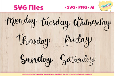 Day of the week  - SVG Hand Lettered Pack