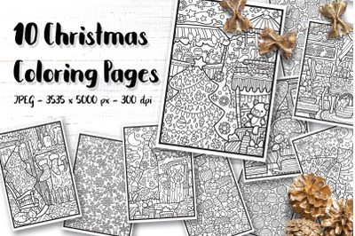 Christmas Coloring Pages for kids, A4 JPEG