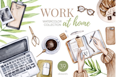 Watercolor Home Office Clipart