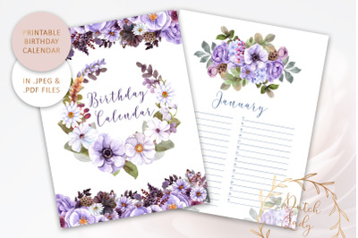 Printable Birthday Calendar #1