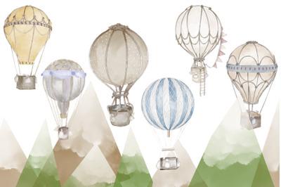 Watercolor air balloons 6 illustrations