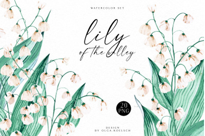 Watercolor spring floral clipart, lily of the valey white flowers digi