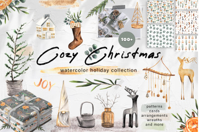 Cozy Christmas Watercolor Decor Set. Patterns and Cards