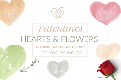 Valentines Watercolor hearts & flowers