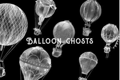 Balloons ghosts watercolor 6 illustrations