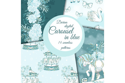 Carousel in blue papers