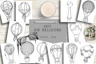 Air balloons vector illustrations