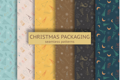 Christmas packaging seamless pattern