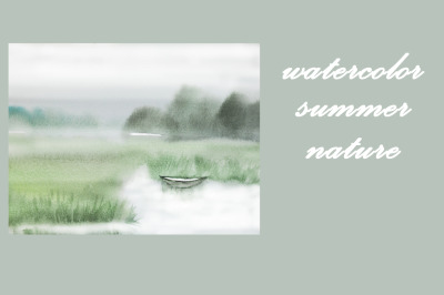 watercolor nature and landscape of summer with tree and boat