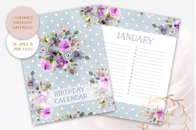 Printable Birthday Calendar #3