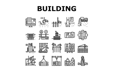 Building Construction Collection Icons Set Vector