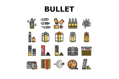 Bullet Ammunition Collection Icons Set Vector