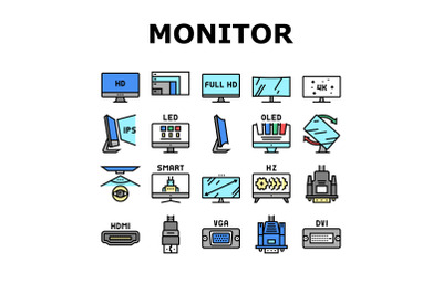 Computer Pc Monitor Collection Icons Set Vector