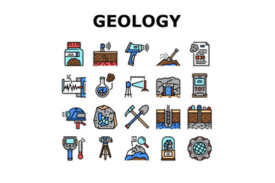 Geology Researching Collection Icons Set Vector