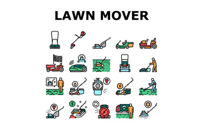 Lawn Mower Equipment Collection Icons Set Vector