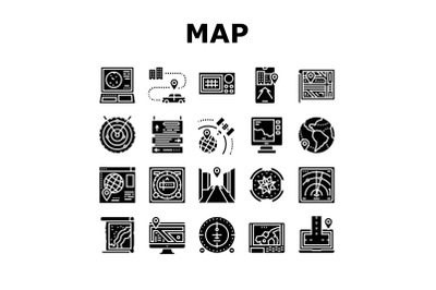 Map Location System Collection Icons Set Vector