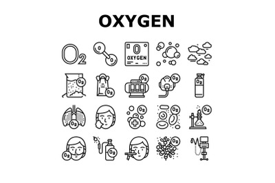 Oxygen O2 Chemical Collection Icons Set Vector