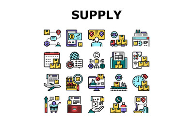 Supply Chain Management System Icons Set Vector