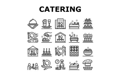 Catering Food Service Collection Icons Set Vector