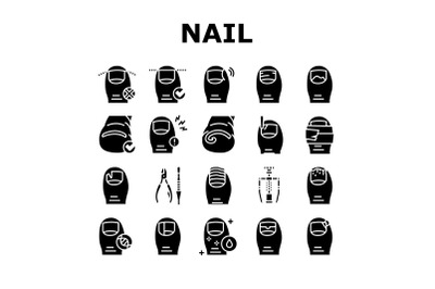 Ingrown Nail Disease Collection Icons Set Vector