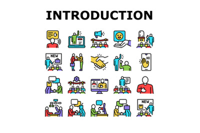 Introduction Speech Collection Icons Set Vector