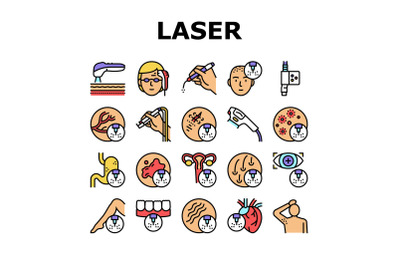 Laser Therapy Service Collection Icons Set Vector