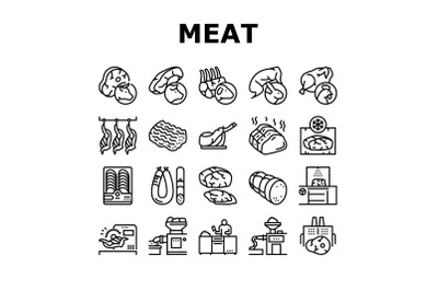 Meat Factory Product Collection Icons Set Vector