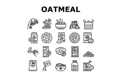 Oatmeal Nutrition Collection Icons Set Vector