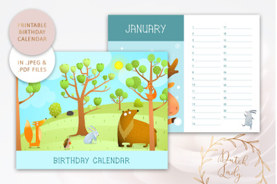 Printable Birthday Calendar #4
