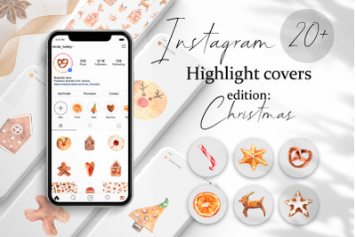 Christmas Instagram Highlight Covers. Ginger Cookies. Festive template