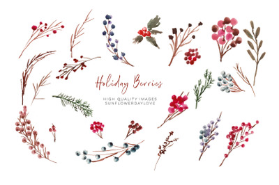 Winter Berries Wreath clipart, Watercolor Christmas Clipart