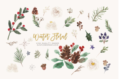 Watercolor Christmas floral clipart, Winter floral clipart