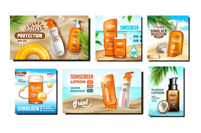 Sunscreen Cream Promotional Posters Set Vector