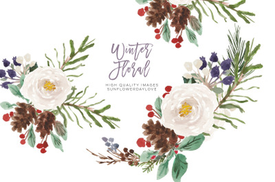 Watercolor Frame Christmas floral, Winter clipart, White Flowers