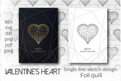 Foil quill Valentines heart. Single line sketch design.