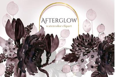 Afterglow. Dark Bordeaux Flowers