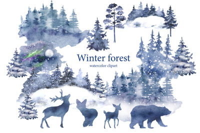 Winter forest watercolor clipart. Winter landscape with pine
