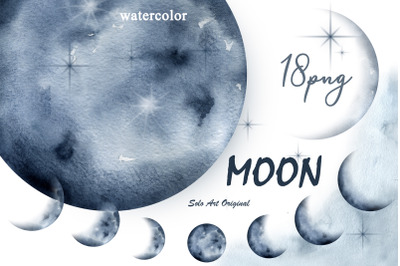 Moon Phases Cosmic Lunar Clip Art Watercolor painting