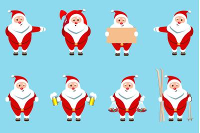 Santa Claus Christmas character set of 8 illustrations