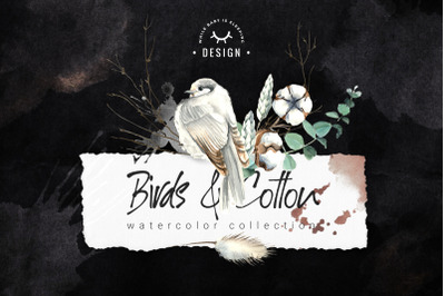 Birds and Cotton Watercolor Set
