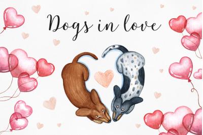 Dachshunds love. Watercolor love illustrations. 14 Februry.