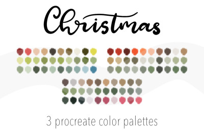 Christmas color palette for Procreate app on iPad. 90Colour swatches