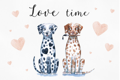 Watercolor love illustrations. 14 Februry. SweetValentine's Day time