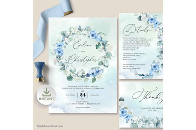 EIVY- Dusty Blue Greenery Wedding Invitation Suite