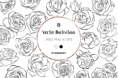 18 Hand drawn Roses, Floral Illustrations in black and white
