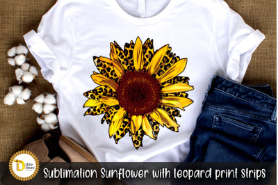 sublimation sunflower with Leopard Print Strips