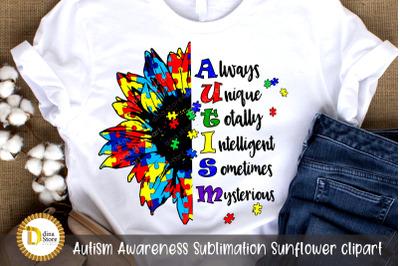 Autism Awareness Sublimation Sunflower clipart