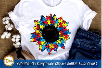 sublimation sunflower Autism Awareness clipart