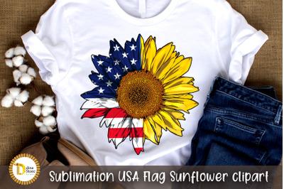 Sublimation USA Flag Sunflower clipart